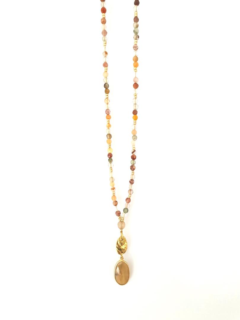 Hipzen lang kæde i agat