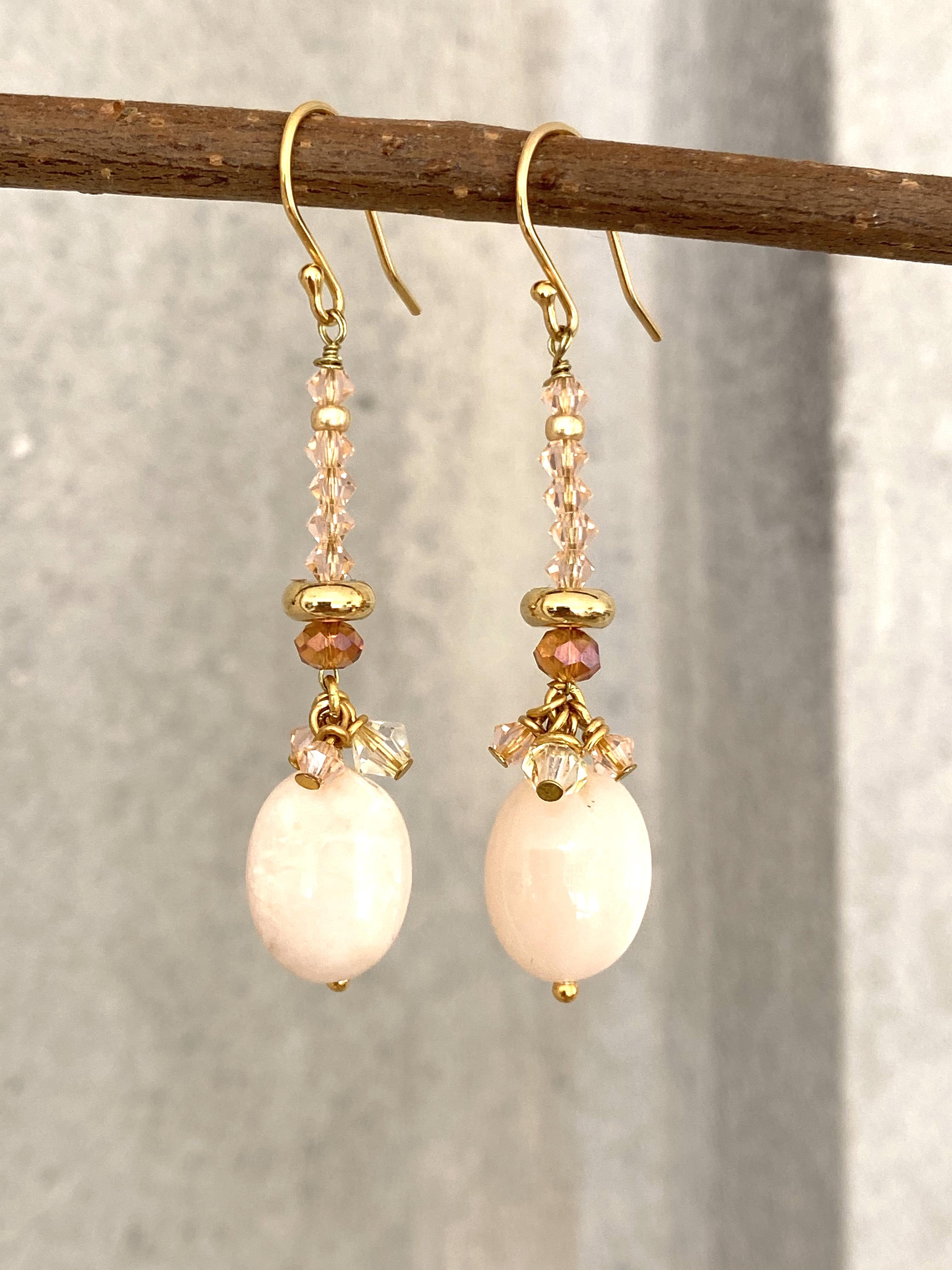 Øreringe rosa opal og swarovski krystal