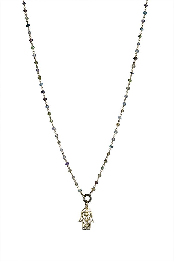 Hipzen lang kæde i forgyldt sølv med små 3mm. forskellige gemstone. Vedhæng med Lotus med Hamsa hånd