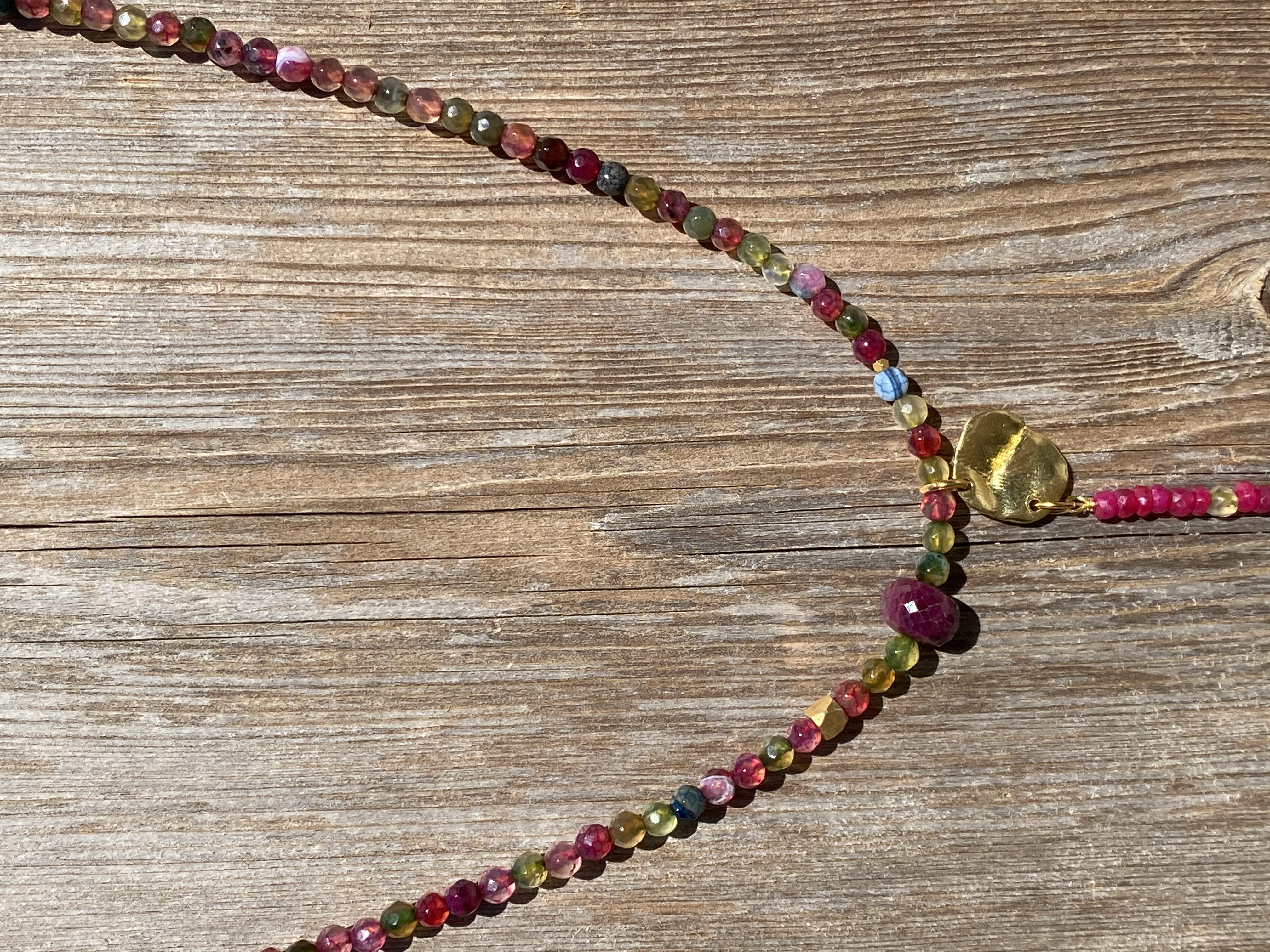 Kort kæde i agat mix farver