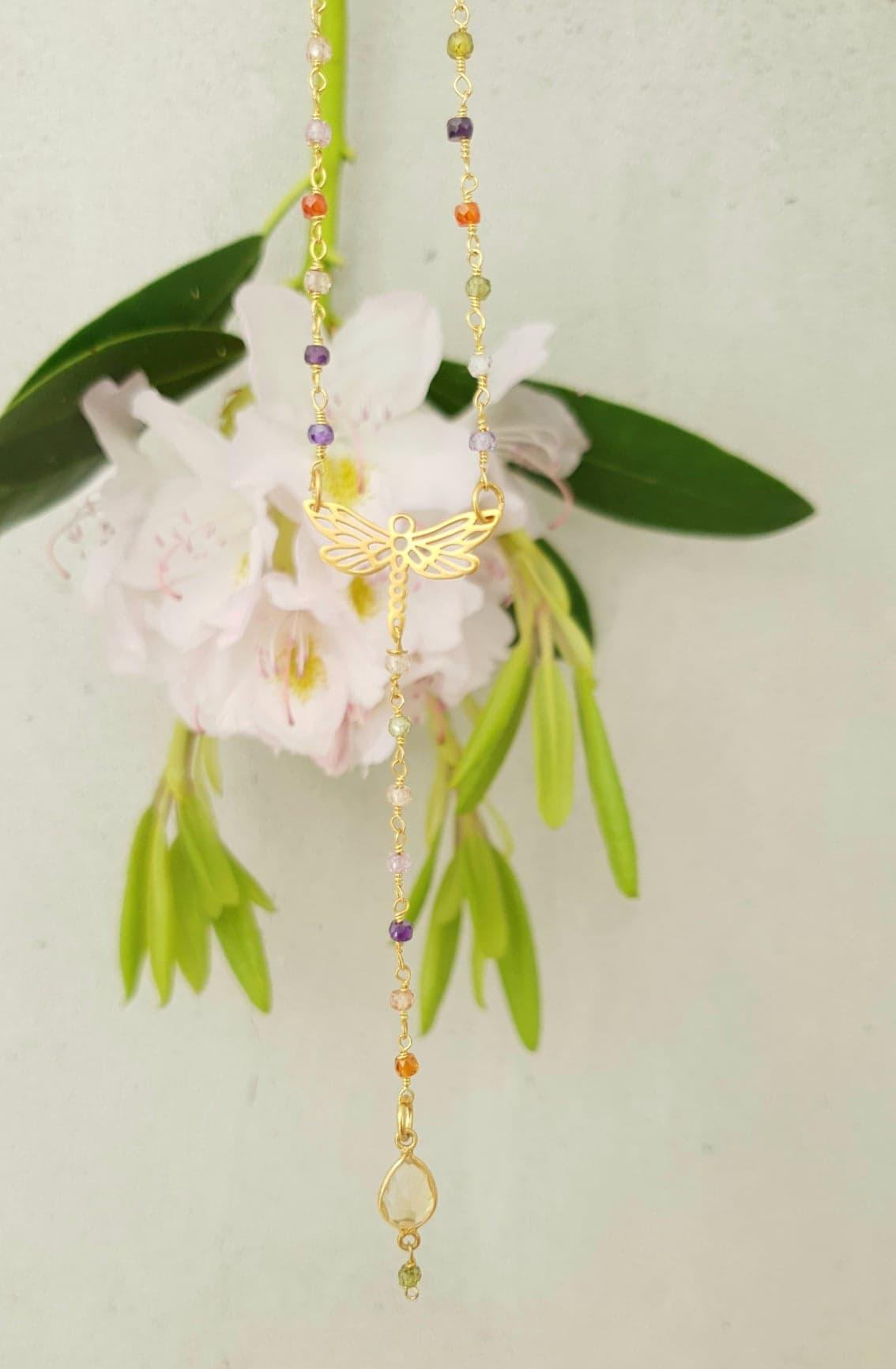 Rosary kæde i med halvædelstene, guldsmed med citrin drop