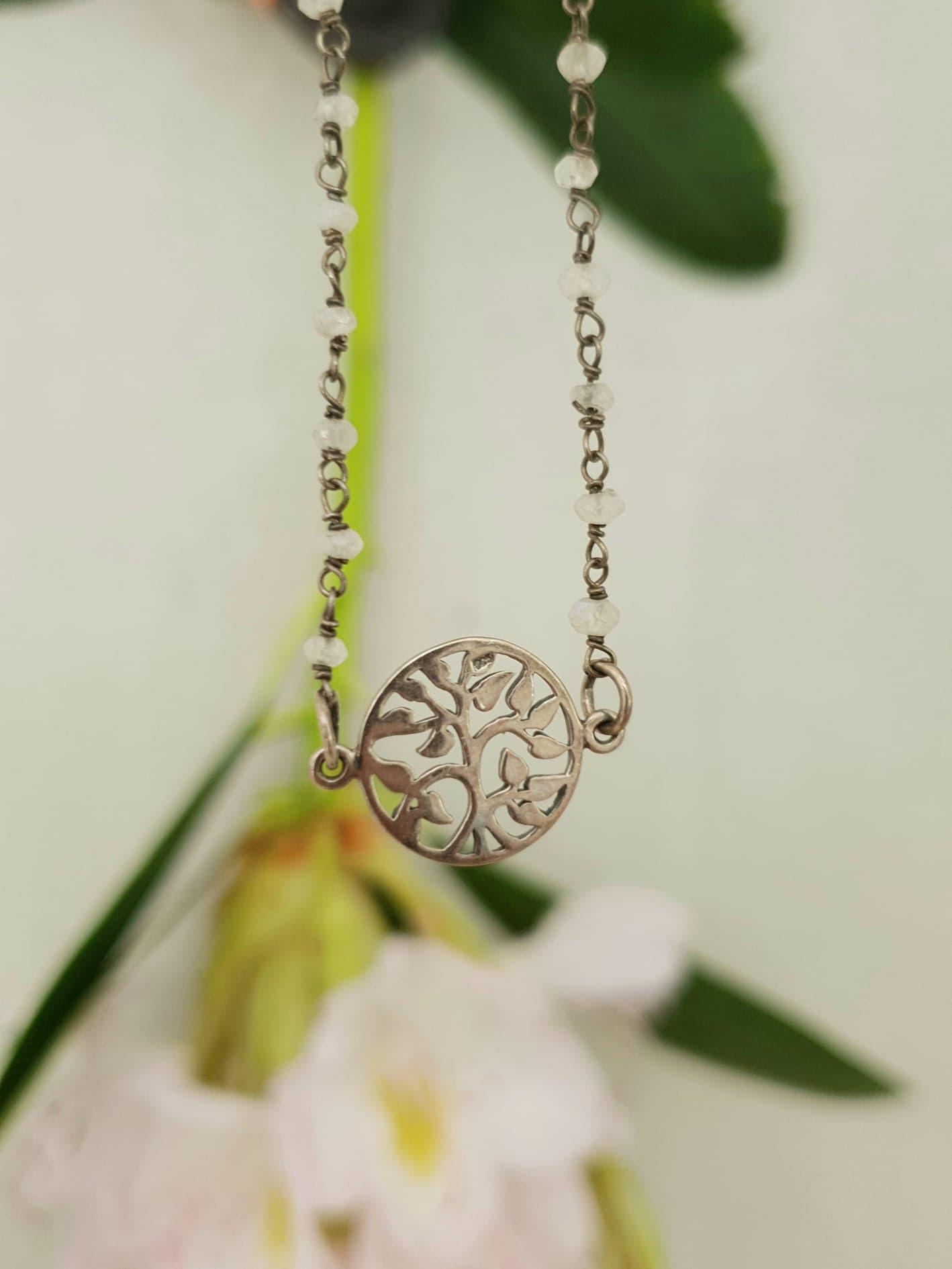 Hvid rosary med tree of life