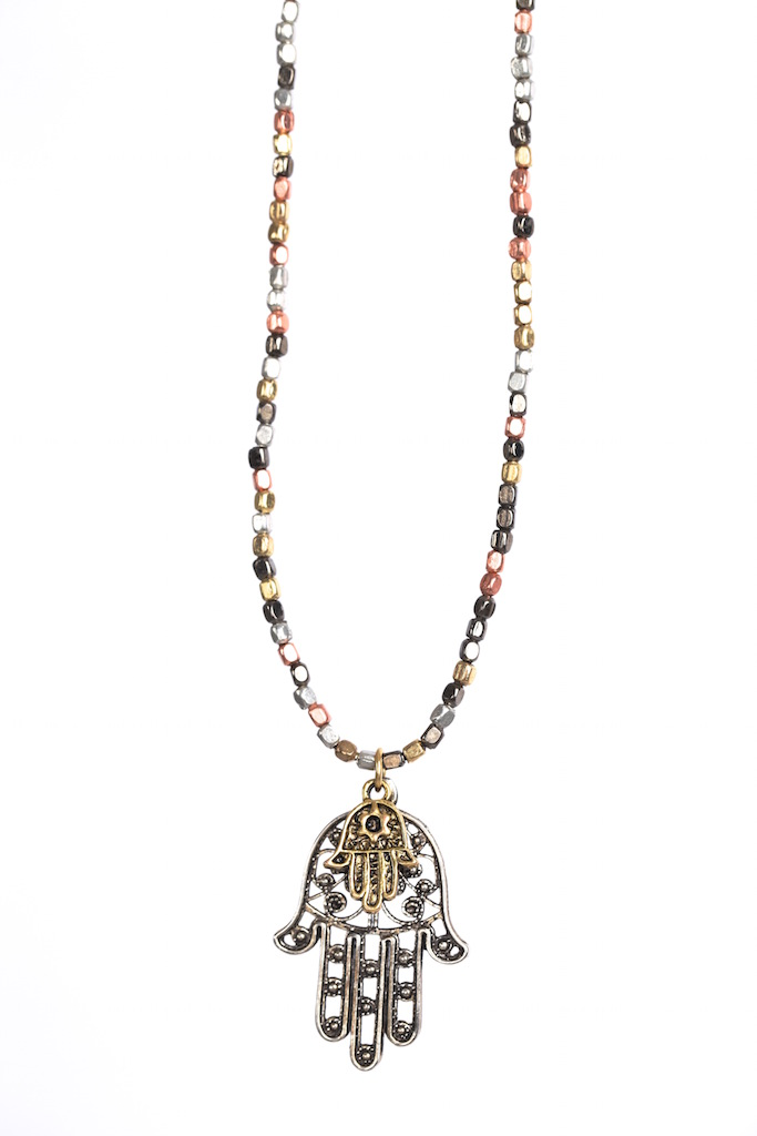 Metal kæde med to hamsa.