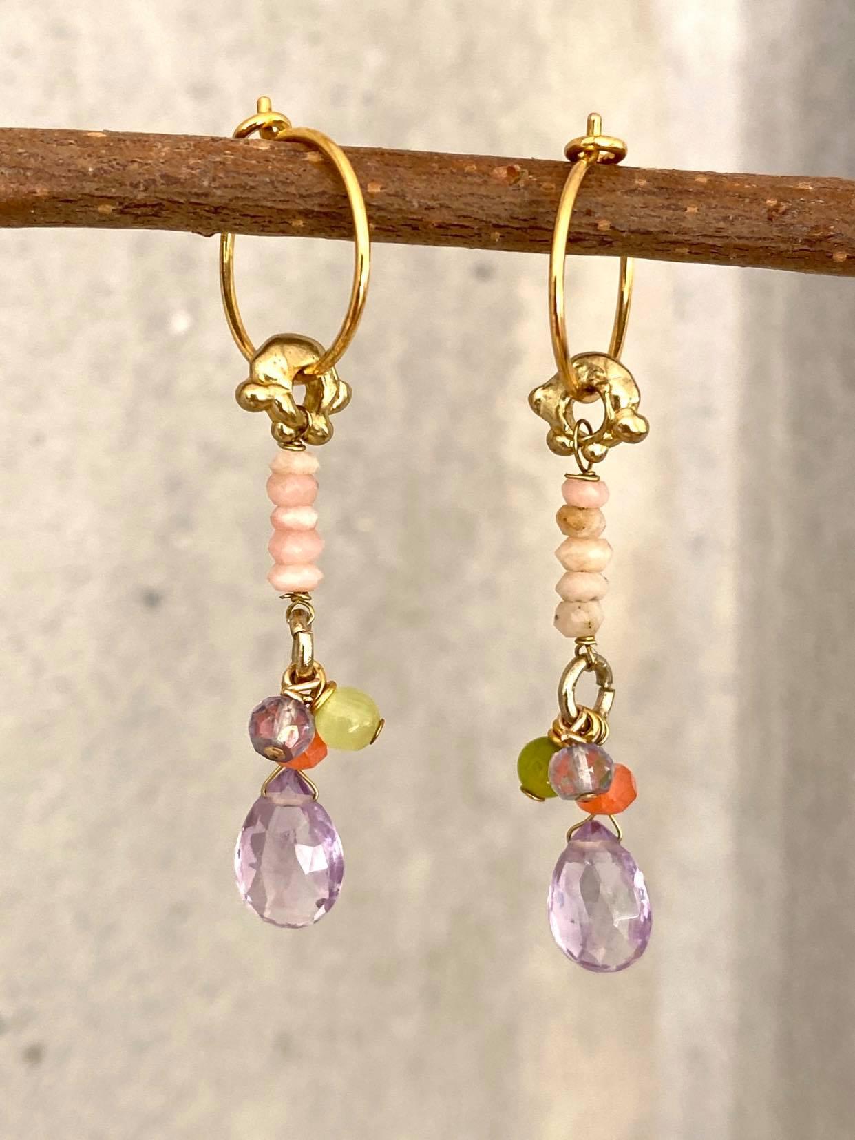 øreringe ametyst drop og rosa opal