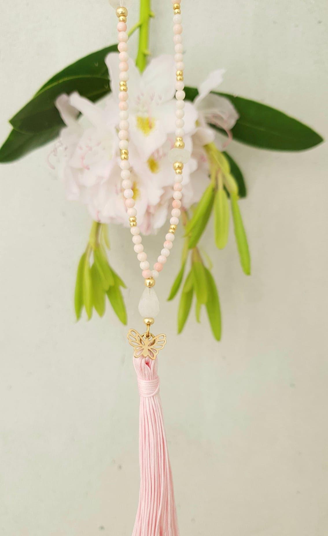 Rosa koral kæde med kvast