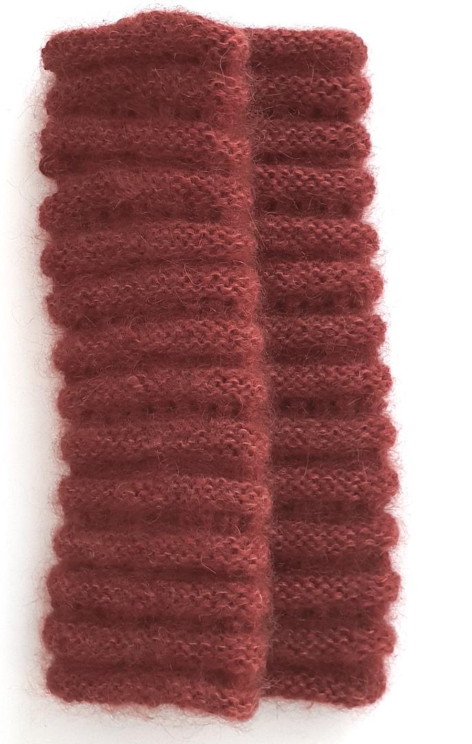 Håndvarmere i alpaka, mohair og silke i kanelfarvet